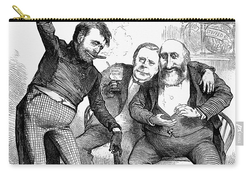 1872 Carry-all Pouch featuring the photograph Grant/tweed Cartoon, 1872 by Granger