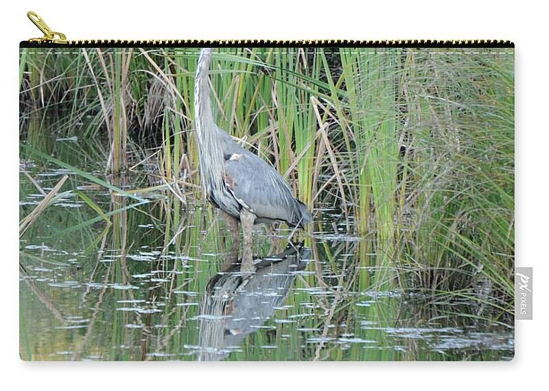 Bird Carry-all Pouch featuring the photograph Great Blue Heron With Reflection by Ronald Grogan