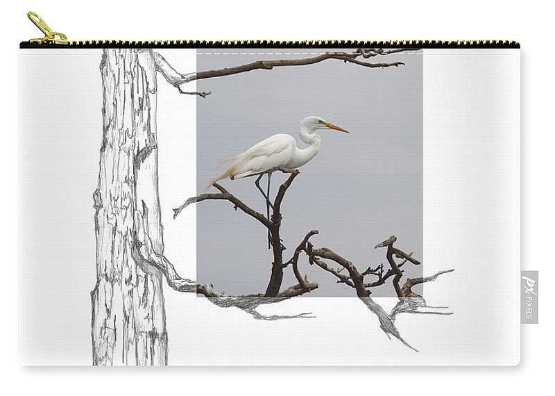 Great Egret Carry-all Pouch featuring the photograph Great Egret - Gnarled Tree by Andrew McInnes