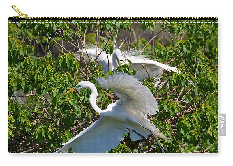 Egret Carry-all Pouch featuring the photograph Great Egret In Flight by Louise Heusinkveld