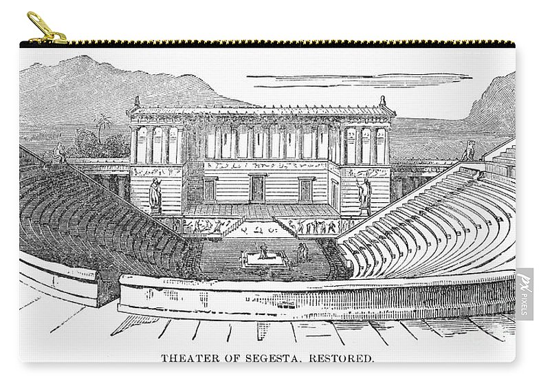 19th Century Carry-all Pouch featuring the photograph Greece: Theater Of Segesta by Granger