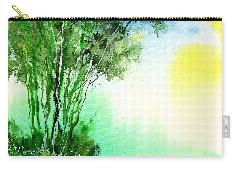 Nature Carry-all Pouch featuring the painting Green 1 by Anil Nene