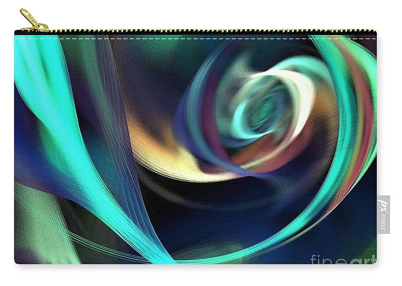 Abstract Carry-all Pouch featuring the digital art Green And Blue Lines by Klara Acel