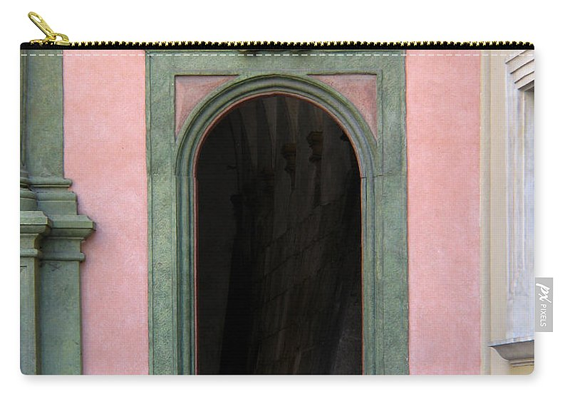 Green Carry-all Pouch featuring the photograph Green And Pink Doorway In Krakow Poland by Greg Matchick