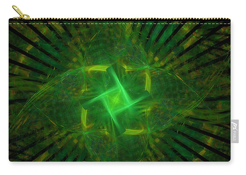 Green Carry-all Pouch featuring the digital art Green by Ricky Barnard