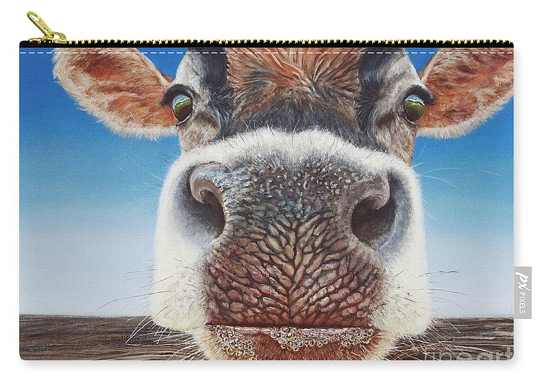 Cow Carry-all Pouch featuring the painting Greener Pastures by Greg and Linda Halom