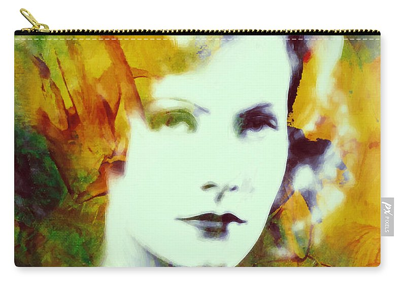 Greta Garbo Actress Famous Beauty Face Portrait Expressionism Impressionism Carry-all Pouch featuring the painting Greta Garbo Abstract Pop Art by Steve K