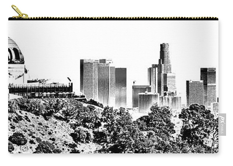 Griffith Carry-all Pouch featuring the photograph Griffith And Los Angeles Etched by Ricky Barnard