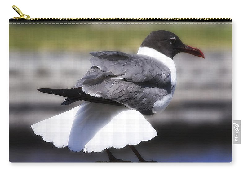 Gull Carry-all Pouch featuring the photograph Gull Dance by Linda Dunn