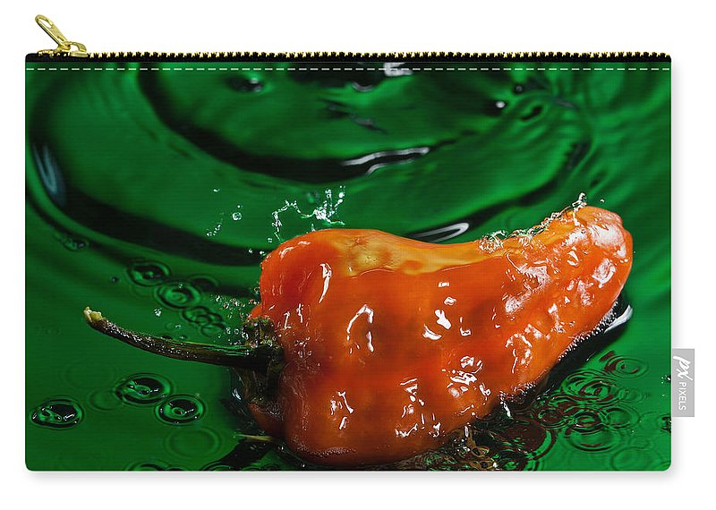 Pepper Carry-all Pouch featuring the photograph Habanero Pepper Freshsplash 2 by Steve Gadomski