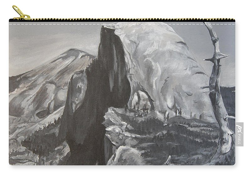Black And White Painting Carry-all Pouch featuring the painting Half Dome Tree by Travis Day