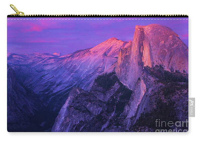 Half Dome Carry-all Pouch featuring the photograph Half Purple Dome by Adam Jewell