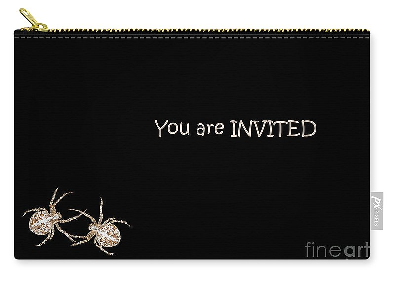 Halloween Carry-all Pouch featuring the photograph Halloween Greetings. Spider Party Series #02 by Ausra Huntington nee Paulauskaite
