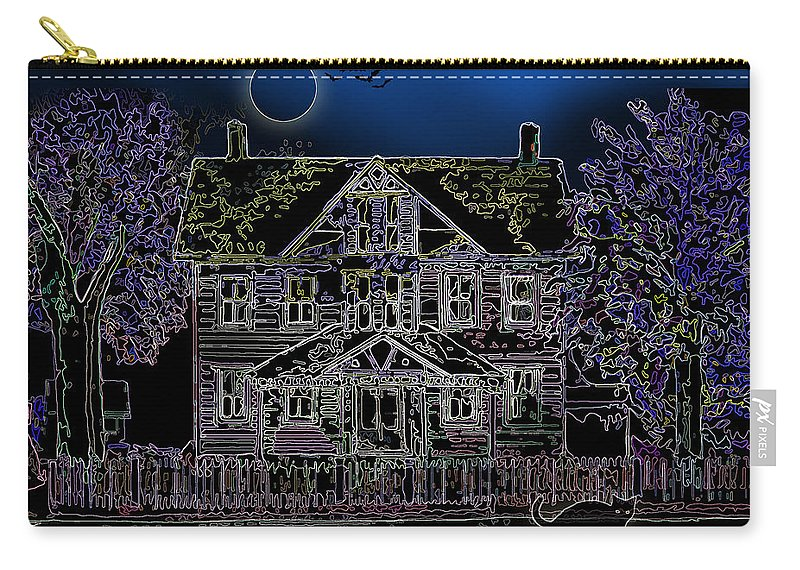 Black Cat Carry-all Pouch featuring the painting Halloween Haunt by Clara Sue Beym