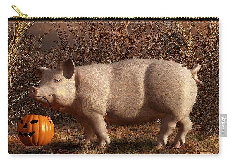 Pig Carry-all Pouch featuring the digital art Halloween Pig by Daniel Eskridge