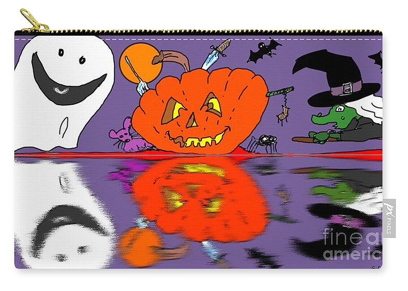 Halloween Carry-all Pouch featuring the painting Halloween Reflections by George Pedro