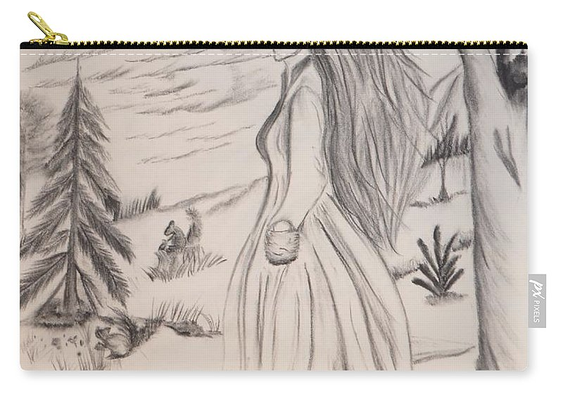 Halloween Carry-all Pouch featuring the drawing Halloween Witch Walk by Maria Urso