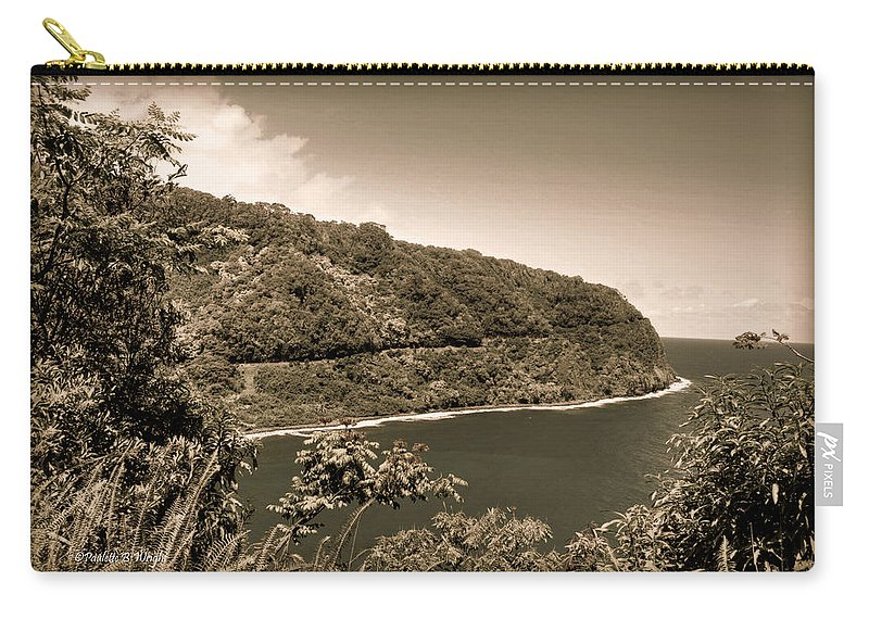 Interior Design Carry-all Pouch featuring the photograph Hana Highway Sepia by Paulette B Wright