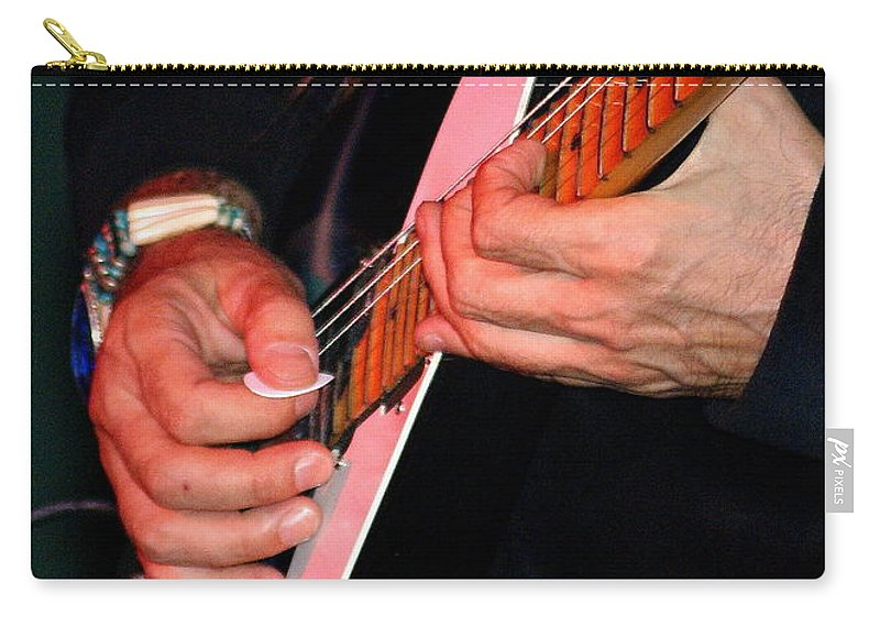 Uli Jon Roth Carry-all Pouch featuring the photograph Sun In The Hands And Guitar Of Uli Jon Roth by Ben Upham