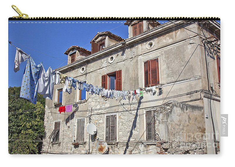 Laundry Carry-all Pouch featuring the photograph Hanging Out To Dry In Rovinj by Madeline Ellis