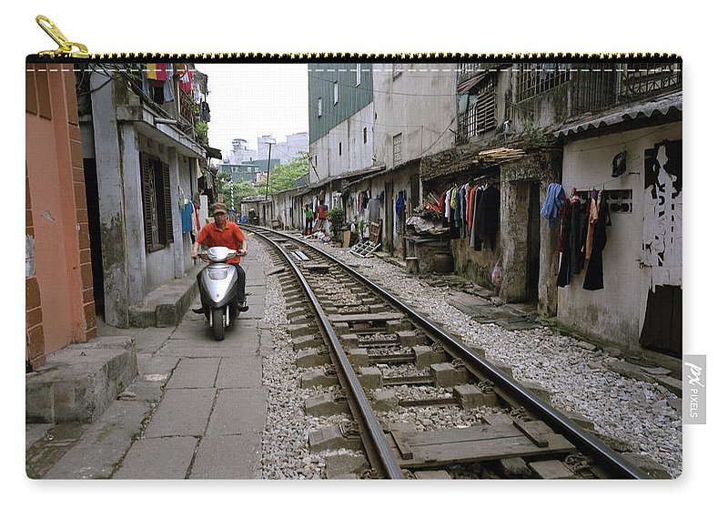 Asia Carry-all Pouch featuring the photograph Hanoi Train Tracks by Shaun Higson
