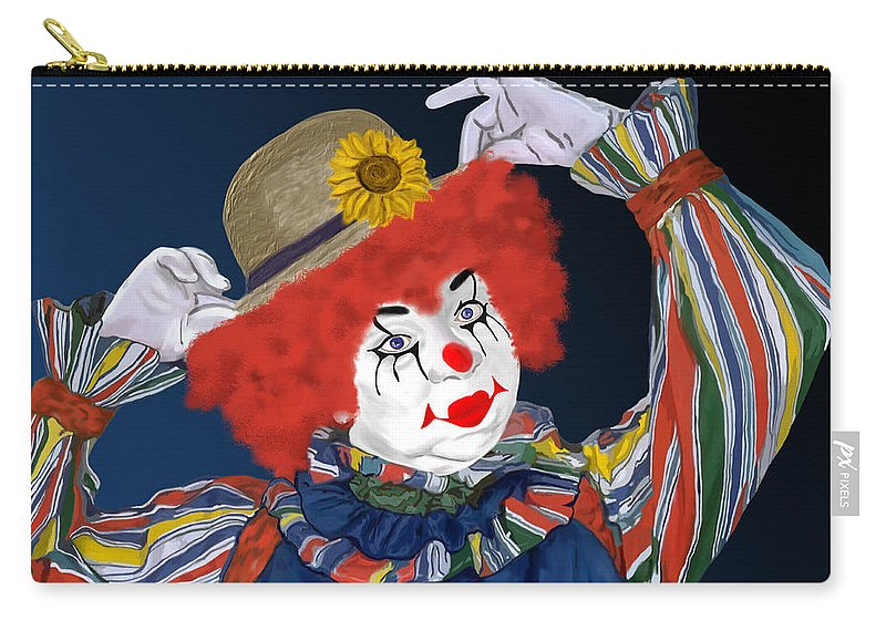 Happy Clown Carry-all Pouch featuring the painting Happy Clown by Methune Hively