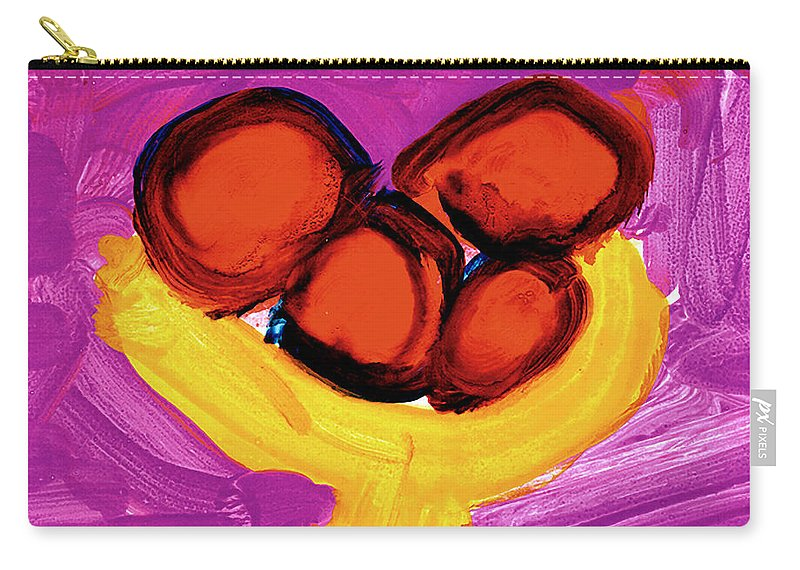 Apples Carry-all Pouch featuring the painting Happy Fruit by Cortland Bobczynski Age Six