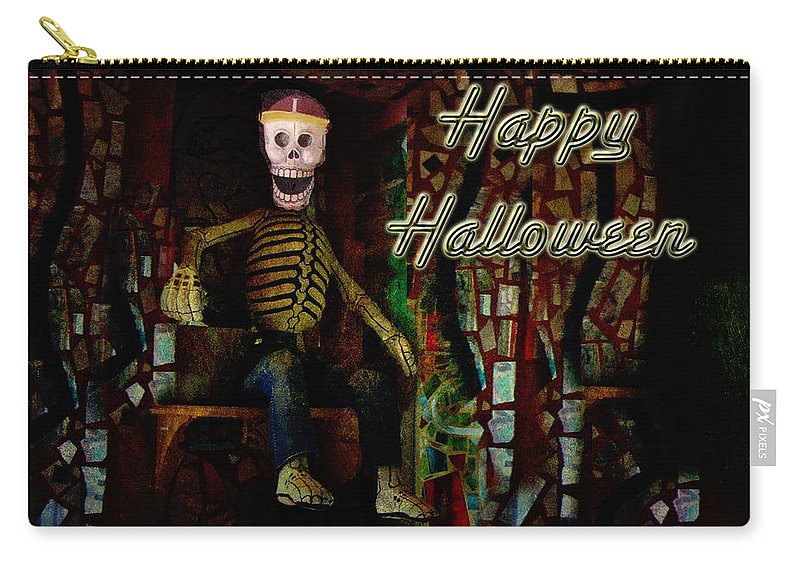 Halloween Carry-all Pouch featuring the photograph Happy Halloween Skeleton Greeting Card by Mother Nature