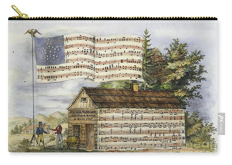 1840 Carry-all Pouch featuring the photograph Harrisons Log Cabin March by Granger
