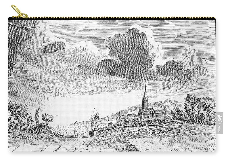 18th Century Carry-all Pouch featuring the photograph Harvesting, 18th Century by Granger