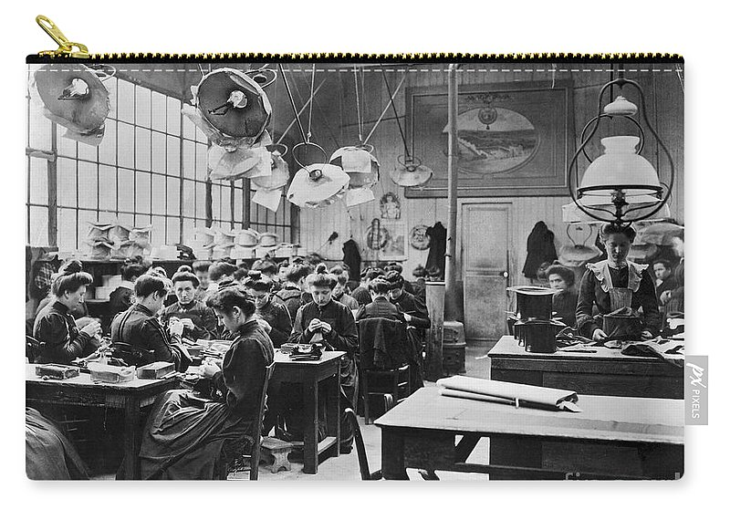 1900 Carry-all Pouch featuring the photograph Hat Factory, C1900 by Granger