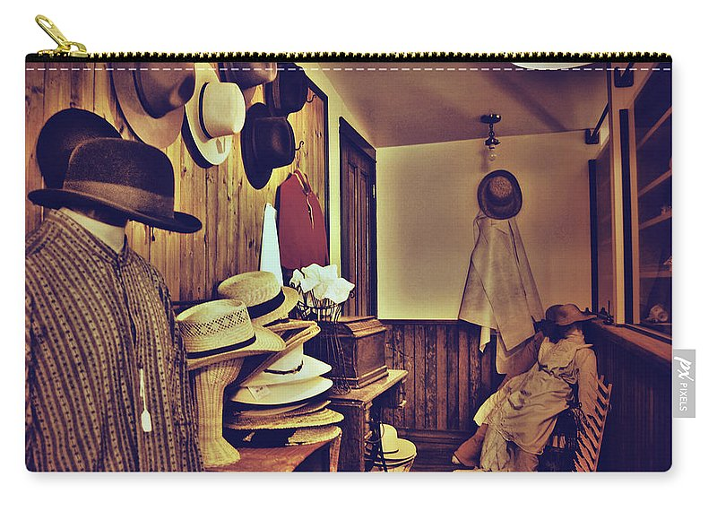 Photographs Framed Prints Carry-all Pouch featuring the photograph Hat Room by The Artist Project