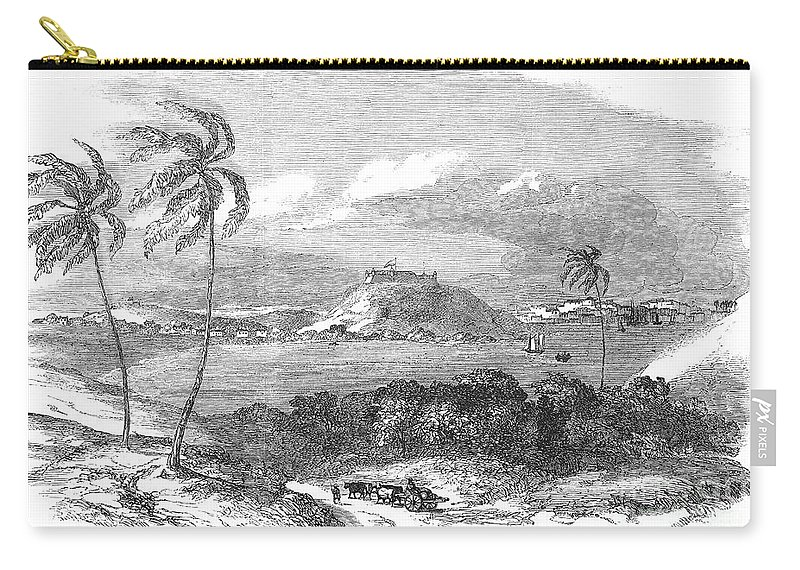 1851 Carry-all Pouch featuring the photograph Havana, Cuba, 1851. /na View Of The Harbor And Fort Of Atares. Wood Engraving, English, 1851 by Granger