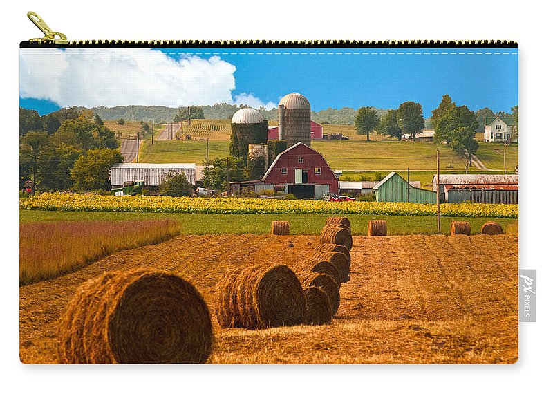 Farm Carry-all Pouch featuring the photograph Hay Bales Leading To Barn by Randall Branham