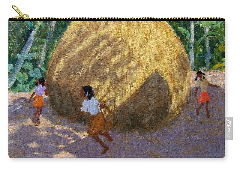 Indian Landscape Carry-all Pouch featuring the painting Haystack by Andrew Macara