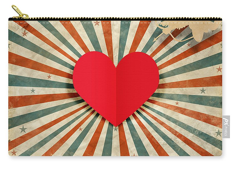 Antique Carry-all Pouch featuring the digital art Heart And Cupid With Ray Background by Setsiri Silapasuwanchai