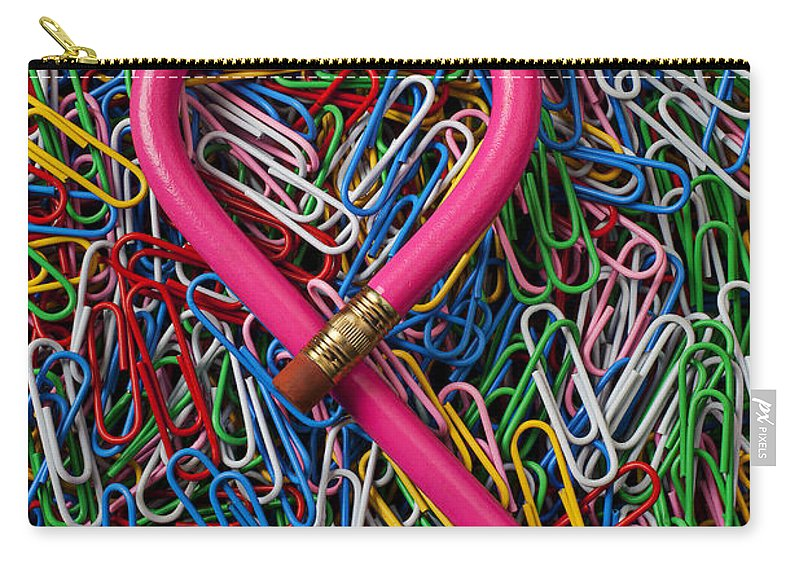 Heart Shaped Pink Pencil Love Carry-all Pouch featuring the photograph Heart Shaped Pink Pencil by Garry Gay