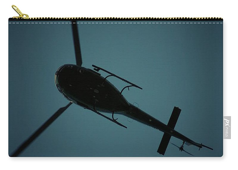Helicopter Carry-all Pouch featuring the photograph Helicopter Silhouette by David Weeks