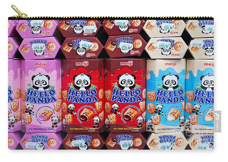 Hello Carry-all Pouch featuring the photograph Hello Panda Biscuits by Rick Piper Photography