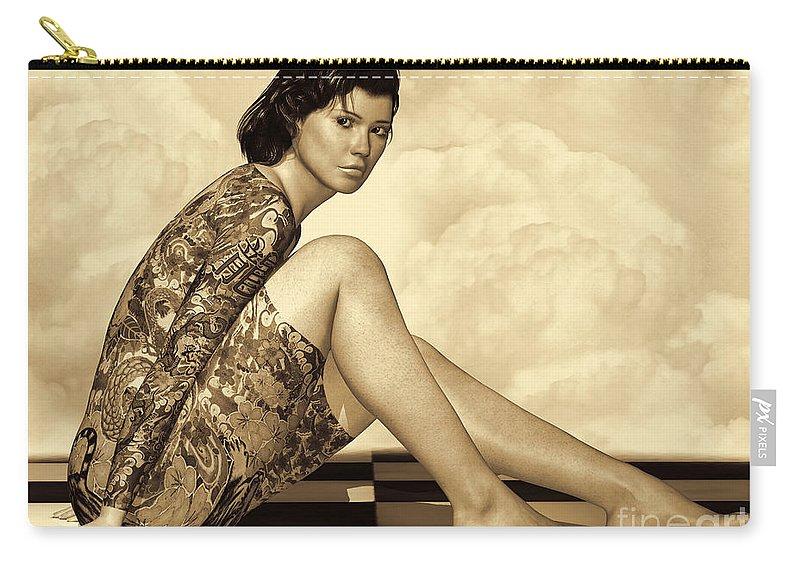 3d Carry-all Pouch featuring the digital art Hidden Secrets - Sepia by Alexander Butler