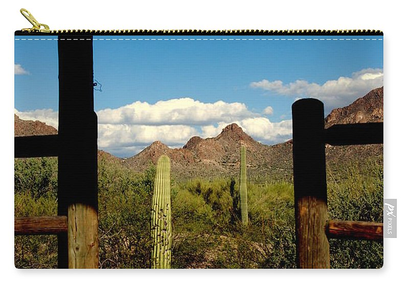 High Chaparral Carry-all Pouch featuring the photograph High Chaparral Old Tuscon Arizona by Susanne Van Hulst