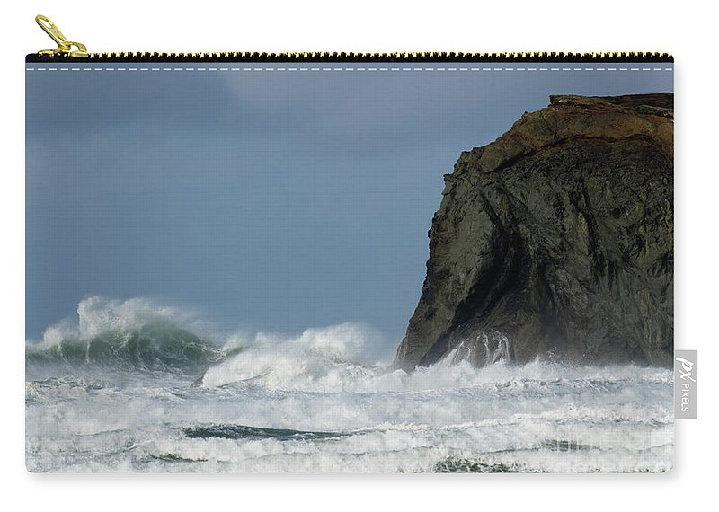 Rocks Carry-all Pouch featuring the photograph High Surf by Bob Christopher