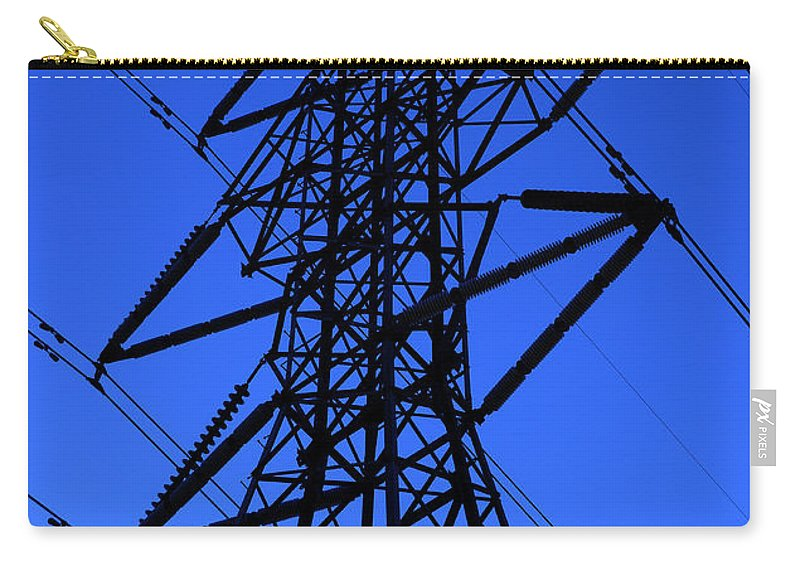 Blue Carry-all Pouch featuring the photograph High Voltage Power Line Silhouette by Gary Whitton