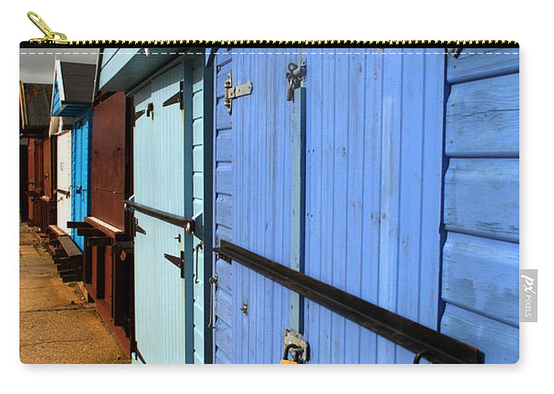 Beach Hut Carry-all Pouch featuring the photograph Highcliffe Beach Huts by Chris Day