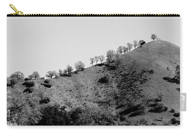 Hill Carry-all Pouch featuring the photograph Hilltop In A Row - Black And White by Kathleen Grace