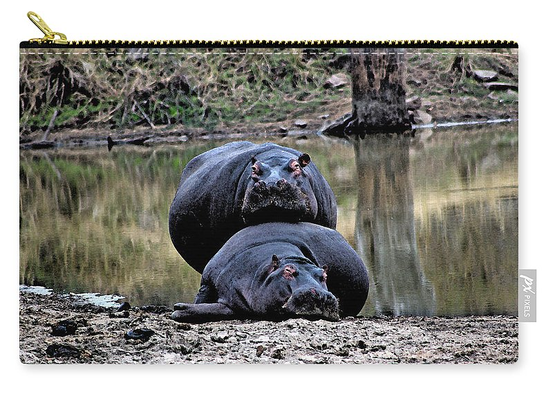 Africa Carry-all Pouch featuring the photograph Hippos In Love by Paul Fell