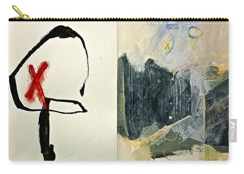 Abstract Paintings Carry-all Pouch featuring the painting Hits And Mrs Or Kami Hito E 1 by Cliff Spohn