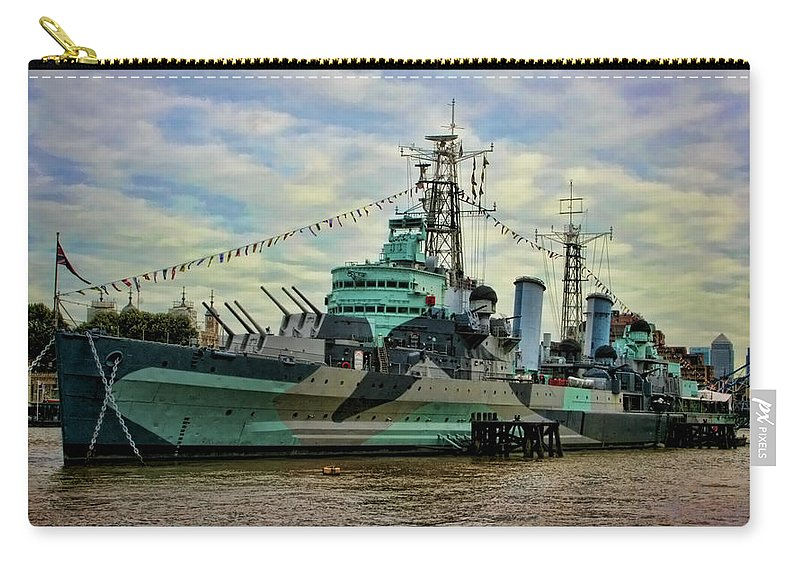 Hms Belfast Carry-all Pouch featuring the photograph Hms Belfast by Heather Applegate