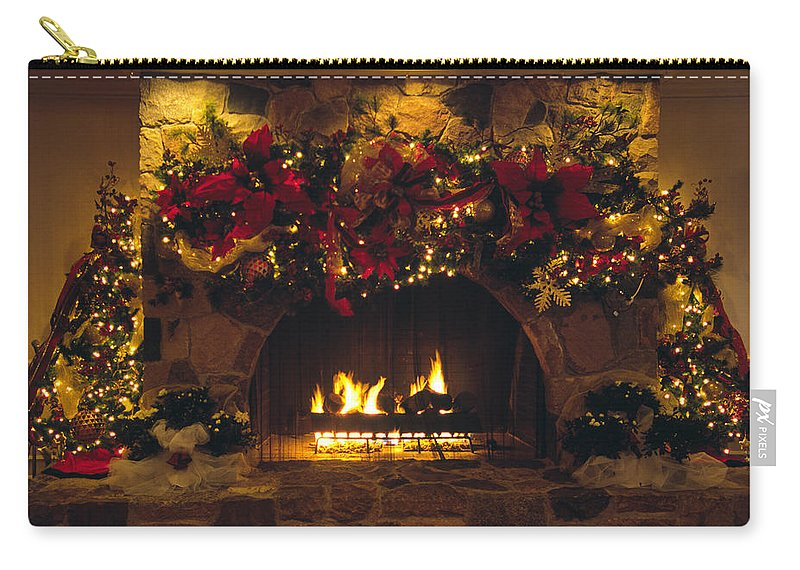 Stone Fireplace With Christmas Decorations And Lights Carry-all Pouch featuring the photograph Holiday Hearth by Sally Weigand