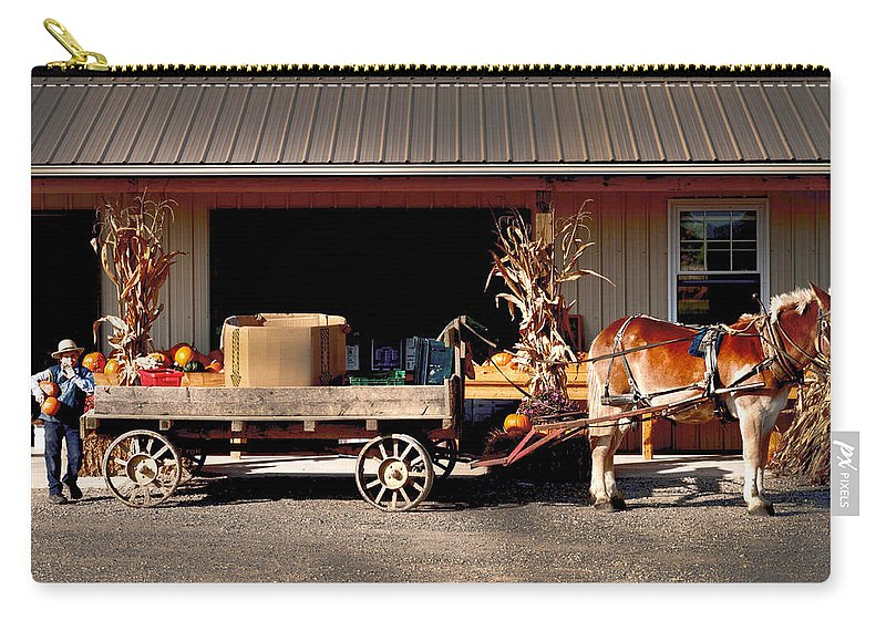 Amish Carry-all Pouch featuring the photograph Home Delivery Family Market by Randall Branham